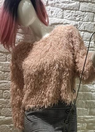 Новинка! шикарна укорочена блуза з імітацією пір'я, персиковий колір