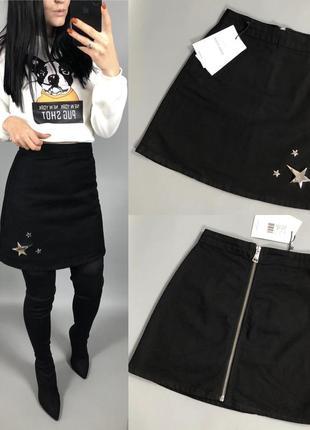 Джинсовая юбка высокая посадка чёрная kate moss