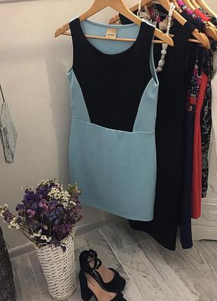 Голубое с черным платье ichi