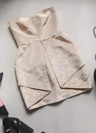Платье вечернее коктейльное цвета шампань с золотым отливом