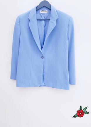 Шикарный пиджак жакет блейзер цвета неба шерстяный практичный пиджак