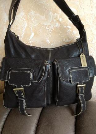 Удобная кожаная сумка sarrbire  blue на плечо