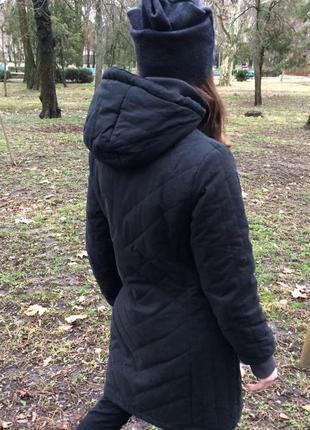 Классное теплое и легкое пальто на молнии с капюшоном s/m