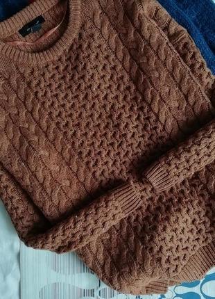 Коричневый вязаный шерстяной свитер косы оверсайз объемный джемпер пуловер 10% wool