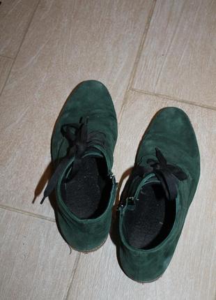 Ботинки натуральный замш 26 см немного утеплены демисезон