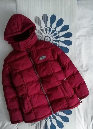 Красный пуховик теплый червоний красная куртка курточка удлиненная теплая червона