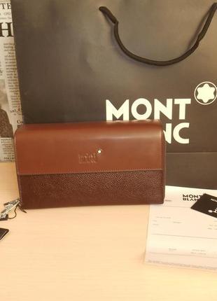 Клатч-сумка мужская барсетка mont blanc, кожа, италия