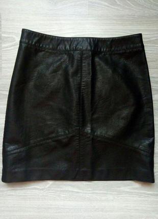 Чёрная юбка под кожу/ юбка кожзам / кожаная юбка