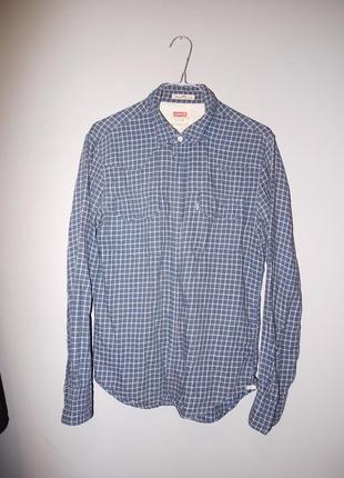 Рубашка хлопок 100% байковая levis левайс . синяя в клетку