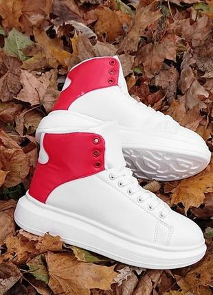 Белые зимние высокие кроссовки на массивной подошве розовая пятка. 35.36.37.38.39.