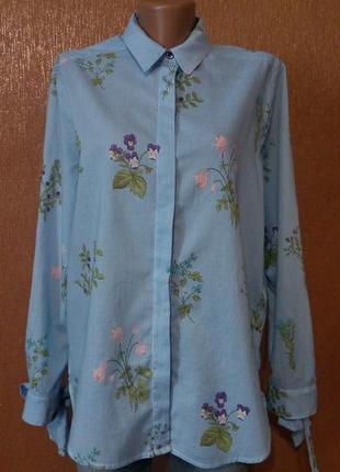 Блузка-рубашка с завязками на манжете в цветочный принт размер 10-12 topshop