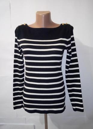 Хлопковый джемпер пуловер в полоску ralph lauren uk 10 / 38 / s