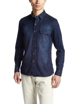 Котоновая рубашка деним мужская slim fit оригинал