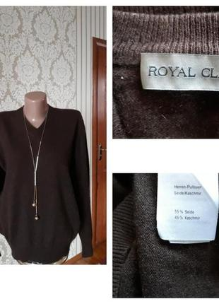 Кашемир+шелк фирменный базовый джемпер свитер кофта