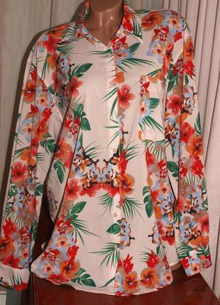 Красивая нежная блуза (3 хл замеры) с узором превосходно смотрится, 2 длины
