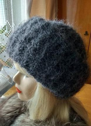 Пушистая зимняя вязаная женская шапка оверсайз oversize