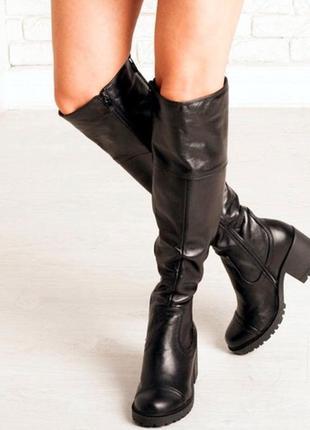 Кожаные зимние ботфорты люкс качество!акция! скидка 50 грн на любую пару обуви до 24.11