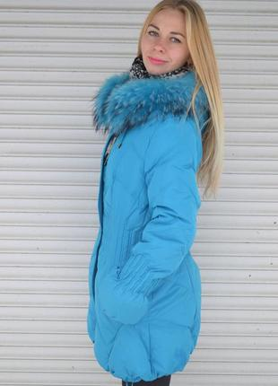 Куртка пуховик ice bear с мехом енота, l, 46-й размер
