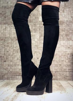 Рр 36-40 зима(осень)натуральный замш люксовые стильные высокие черные ботфорты чулки