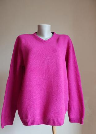 Яркий свитер фуксия шерсть springfield сша