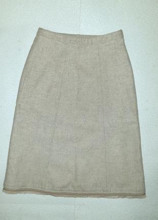 Теплая, стильная юбка миди, демисезон/зима, серо-бежевый меланж