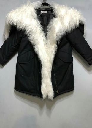 Парка меховая натуральная куртка пуховик оверсайз натуральный мех ламы 2018.