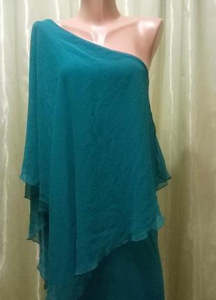 Зеленое платье на одно плечо zara 043