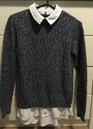 Свитер с рубашкой/джемпер /пуловер с белой блузой