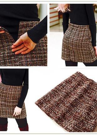 """Шикарная юбка """"а ля шанель"""", осень-зима,высокая талия,твид,с бахромой и без,р-р  xs - xxl"""