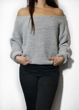 Объемный свитер крупной вязки boohoo p. s-m оверсайз