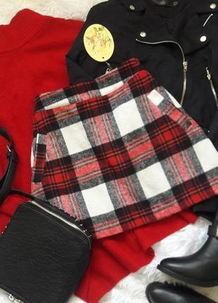 Актуальная теплая юбка мини в клетку