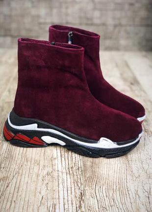 Замшевые зимние ботинки флэтформы на модной подошве в стиле b@lenciaga. 36-40