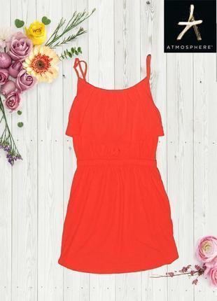 Яркое морковное платье atmosphere