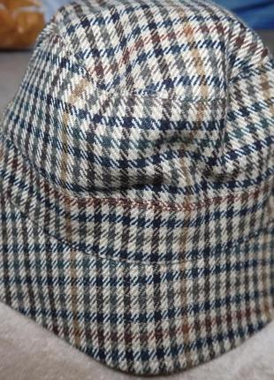 Кепка шляпа двусторонняя шерсть вельвет клетка