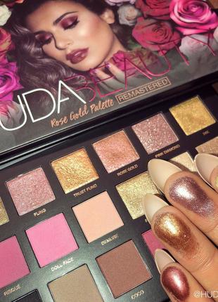 Палетка теней huda beauty – rose gold remastered palette