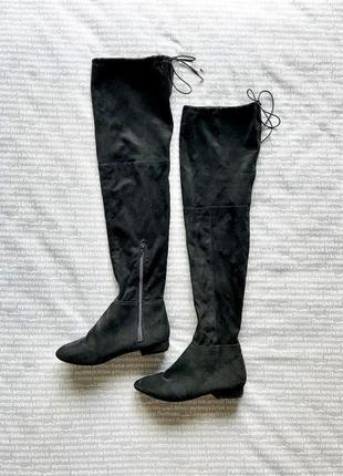 Сапоги чулки ботфорты высокие черные на низком ходу эко замша купить цена