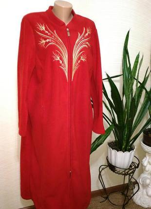 Шикарный фирменный длинный флисовый халат с декором вышивкой xl размер