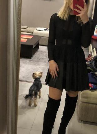 Шикарное платье с кожаной юбкой imperial италия