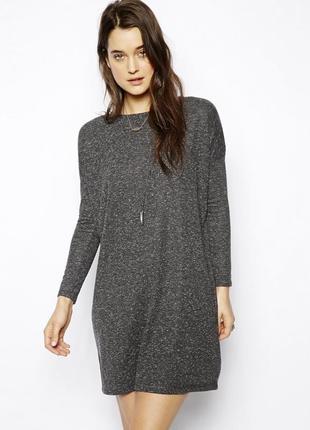 Меланжевое платье-свитер с длинным рукавом asos