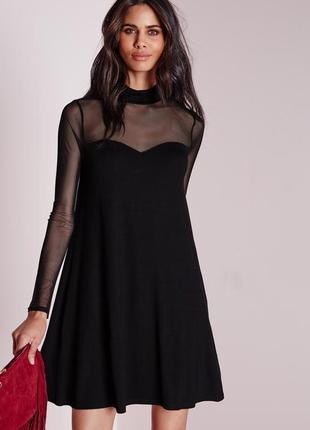 Стильное платье а-силуэта с длинным рукавом и вставкой сетки missguided ms123