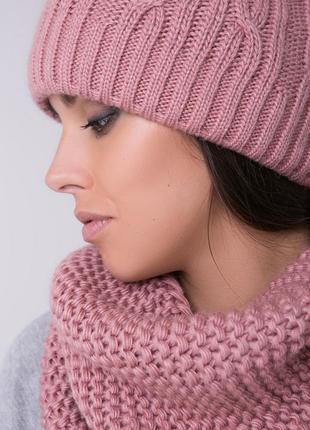 Объёмная шапка крупной вязки, комплект шапка и шарф снуд, зимняя шапка