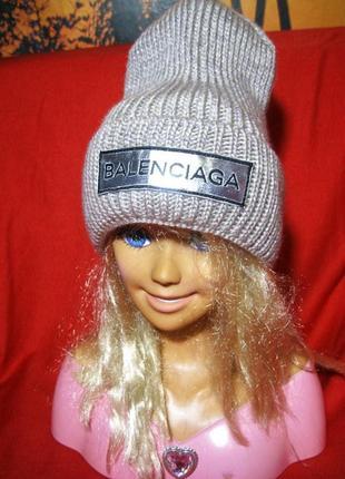 Крутая теплая шапка шерсть акрил 56-57р.