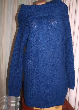 Классный  свитер (л замеры) крупная вязка, тёплый, цвет тёмно-синий, отлично смотрится