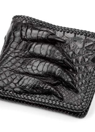 Кошелек из натуральной кожи крокодила черный портмоне бумажник из кожи