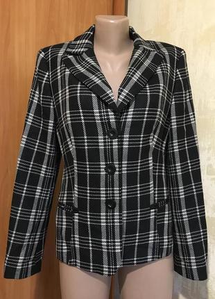 Стильный шерстяной жакет пиджак в клетку,100%шерсть!!