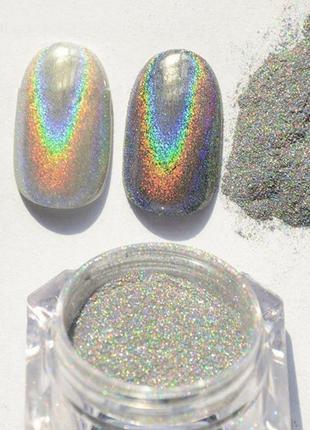 Втирка для ногтей, голографик серебро