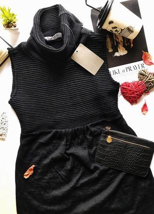 Крутое шерстяное вязаное черное платье zara под горло
