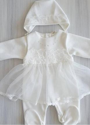 Велюровый нарядный костюм для выписки или крещения девочки разм. 56, 62