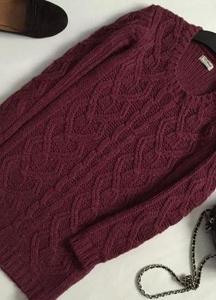 Стильный шерстяной свитер крупной вязки next