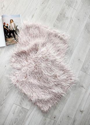 Подушки наволочки квадратные травка лохматые ворс розовые пудра